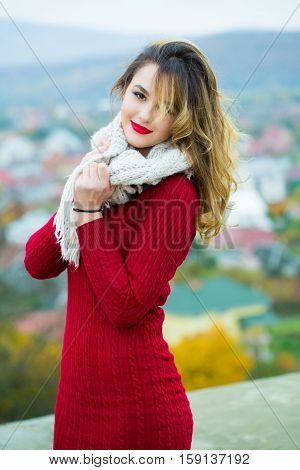 Sexy Pretty Girl With Red Lips
