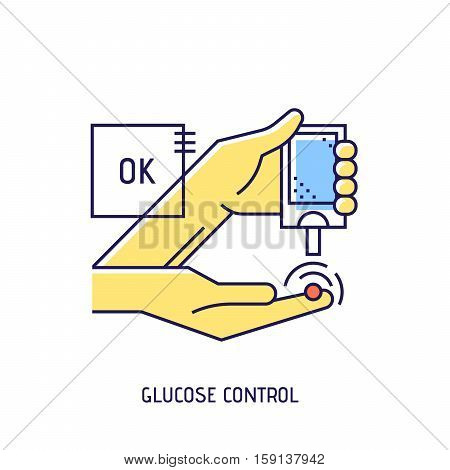 Blood glucose test. Diabetes vector thin line icon. Premium quality outline sign. Stock vector illustration in flat design.
