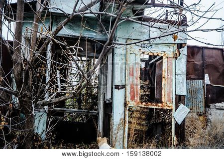 very old rust metal building cccp russia