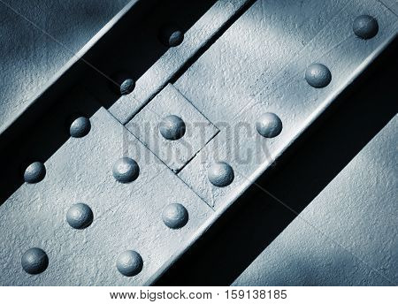 background or texture detail joint construction with steel rivets