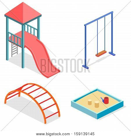 Isometric Flat 3D Concept Web Vector Kids Playground Set.