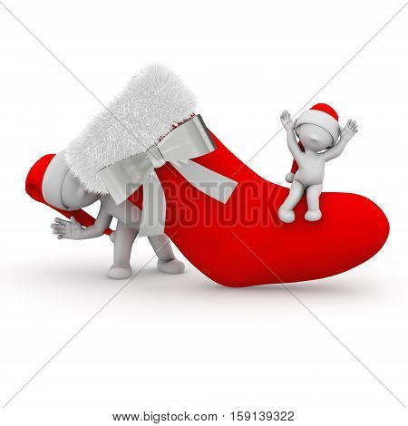christmas stocking decoration family santa new year