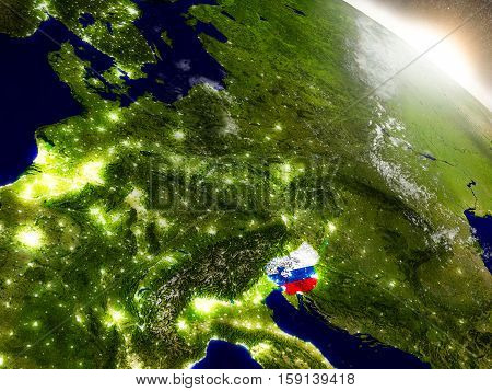 Slovenia With Flag In Rising Sun