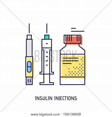 Insulin injection icon. Diabetes vector thin line icon. Premium quality outline sign. Stock vector illustration in flat design.