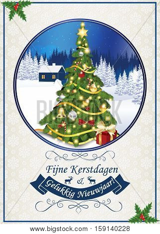 Merry Christmas and Happy New Year (Fijne Kerstdagen en Gelukkig Nieuwjaar!) - dutch  classic greeting card for winter season. Print colors used. Size of a custom printable card
