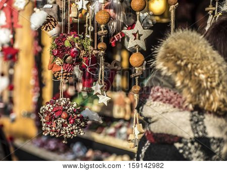 Typical Christmas market in Bolzano, Alto Adige in Italy