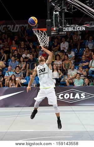 EBRECEN - SEPTEMBER 8 : FIBA 3X3 BASKETBALL WORLD TOUR MASTERS - PLAYER DUSAN DOMOVIC BULUT MR BULLETPROOF - STREETBALL IN THE CENTER SQUARE SEPTEMBER 8 2016 DEBRECEN HUNGARIYADEBRECEN - SEPTEMBER 8 : FIBA 3X3 BASKETBALL WORLD TOUR MASTERS - PLAYER DUSAN