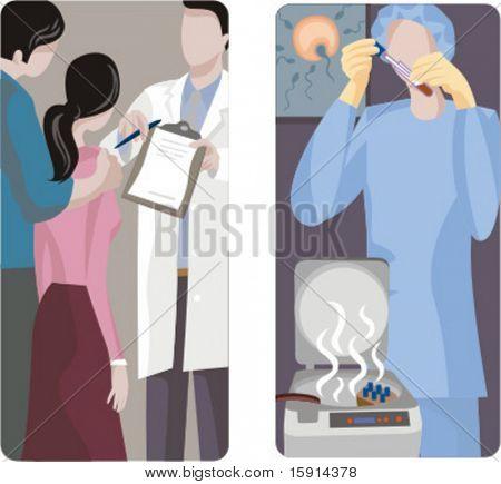 A set of 2 medical illustrations. 1) Family planning. 2) In Vitro Fertilization.