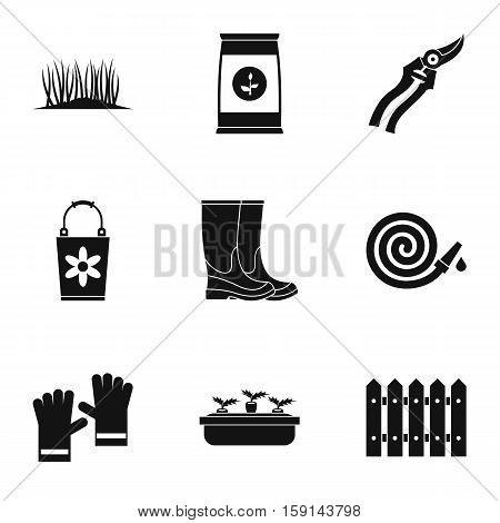 Gardening icons set. Simple illustration of 9 gardening vector icons for web