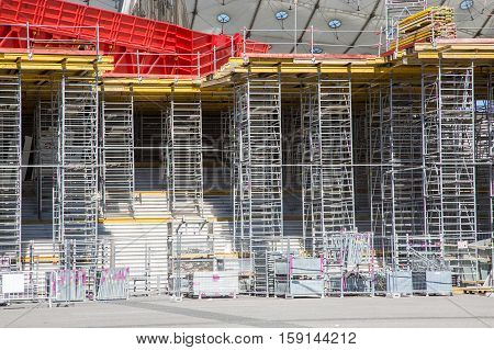 Scaffolding used as the temporary structure at a construction site