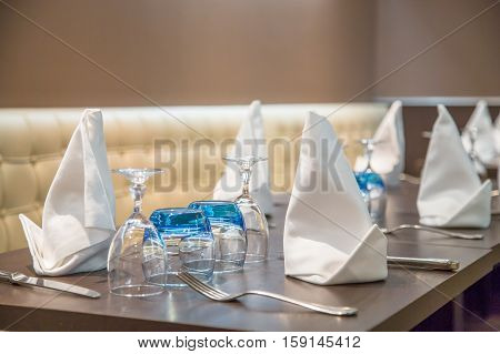 close-up view on beautiful served table in luxury restaurant