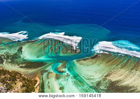 Aerial view of underwater channel. Amazing Mauritius landscape