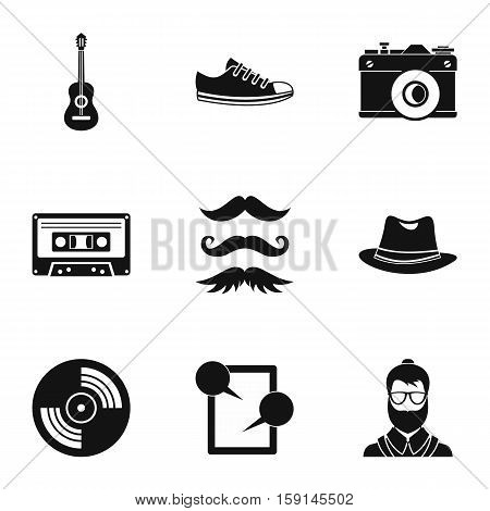 Hipster culture icons set. Simple illustration of 9 hipster culture vector icons for web