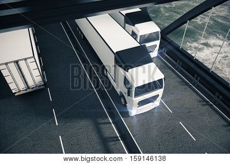 White trucks on road. Sea background. Top view 3D Rendering. Cargo and freight concept