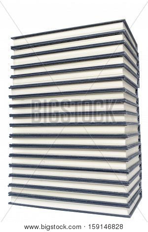 Stack of hardcover books isolated on background