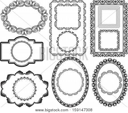 set of isolated antique frames - vector illustration
