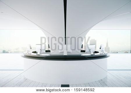 Circular White Reception Desk