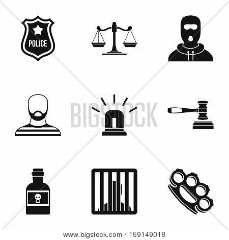 Lawlessness icons set. Simple illustration of 9 lawlessness vector icons for web