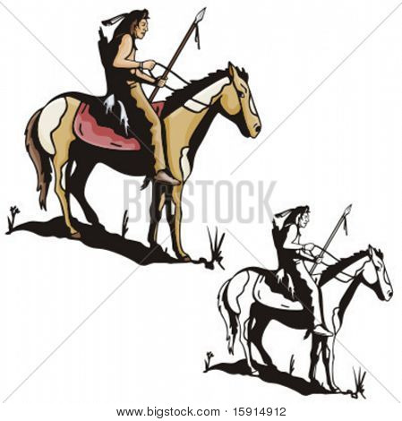 Illustration of an indian warrior riding a horse.