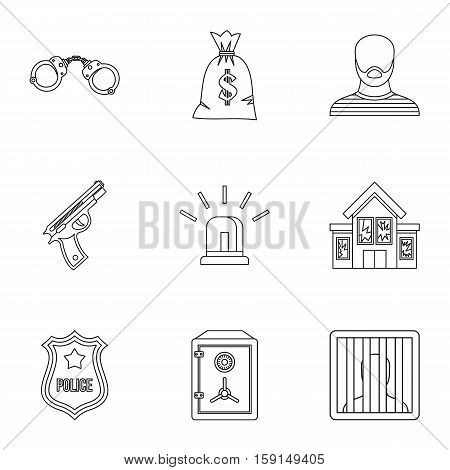 Robbery icons set. Outline illustration of 9 robbery vector icons for web