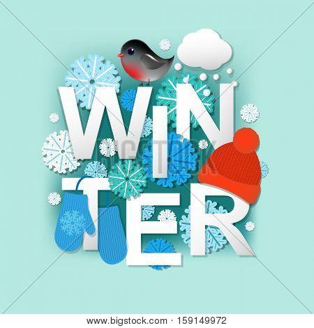 Winter, With Gradient Mesh, Vector Illustration