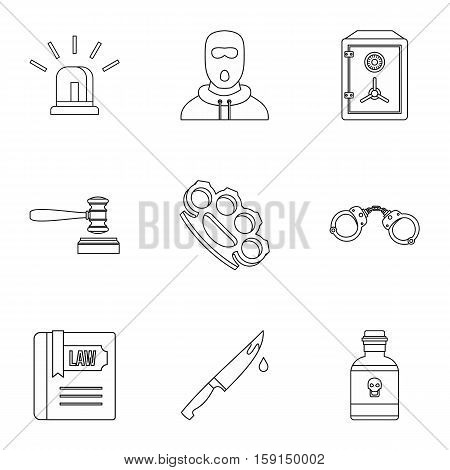 Offense icons set. Outline illustration of 9 offense vector icons for web