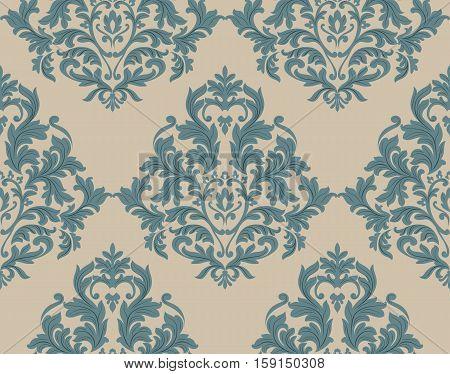 Vintage Damask Baroque ornament floral pattern. Vector Retro Antique style Acanthus foliage. Luxury elegant Decorative filigree texture