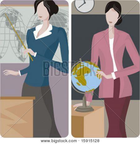 Teacher illustrations series. 1) Geography teacher teaching a class in a classroom. 2) Geography teacher teaching a class in a classroom.