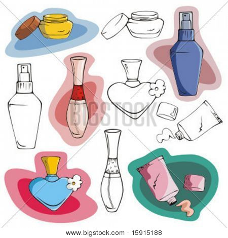 A set of 5 fashion illustrations including creams and deodorants, in color and black and white renderings.