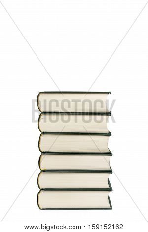 Stack of hardcover books isolated  with copy space