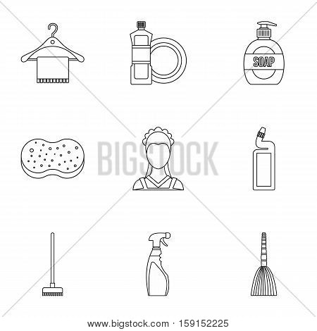 Cleaning icons set. Outline illustration of 9 cleaning vector icons for web