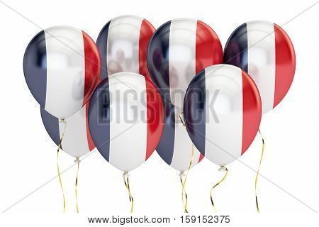 Balloons with flag of France holyday concept. 3D rendering isolated on white background