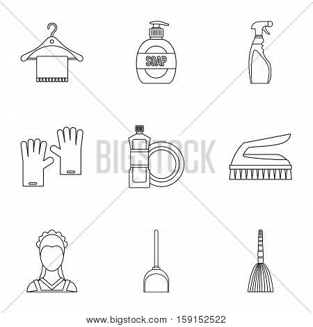 Sanitation icons set. Outline illustration of 9 sanitation vector icons for web