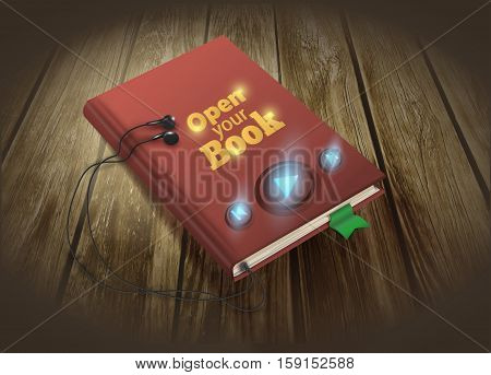 Audio book concept with red book and headphones on wooden background.Vector illustration EPS10 .
