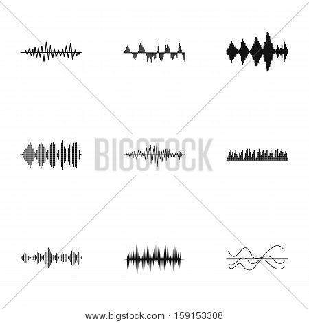 Audio track icons set. Simple illustration of 9 audio track vector icons for web