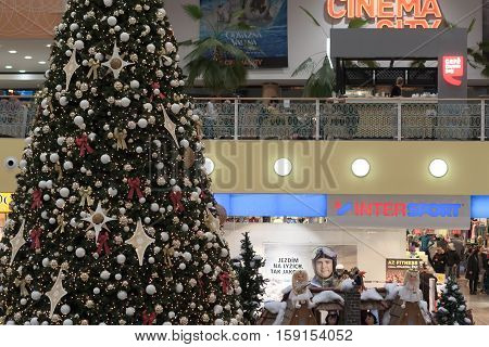 BRNO,CZECH REPUBLIC-NOVEMBER 19,2016:Christmas tree with decorations at shopping center Olympia on November 19, 2016 Brno Czech Republic