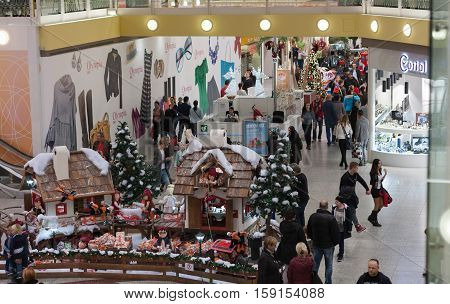 BRNO,CZECH REPUBLIC-NOVEMBER 19,2016:Christmas decorations and walking people at shopping center Olympia on November 19, 2016 Brno Czech Republic