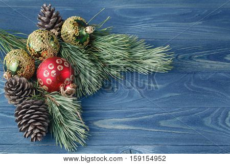 Christmas Or New Year Rustic Wooden Background With Toy Decorations And Fur Tree Branch, Top View, C