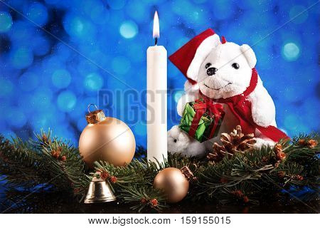 Christmas Or New Year Decoration Card With Xmas Tree Branches, Balls, Pinecone, Teddybear, Bell And