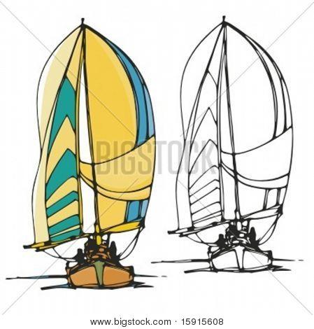 Sail boat. Vector illustration