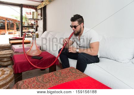 Man With Beard Relax Smoke Shisha