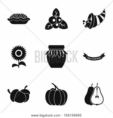 Thanksgiving day icons set. Simple illustration of 9 thanksgiving day vector icons for web