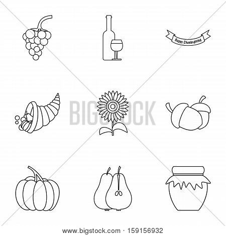 Autumn festival icons set. Outline illustration of 9 autumn festival vector icons for web