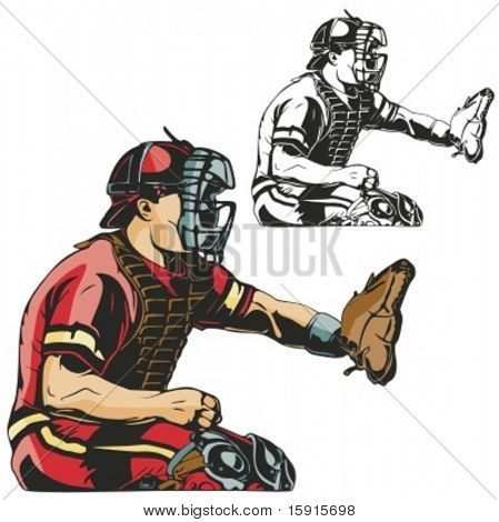 Baseball catcher. Vector illustration