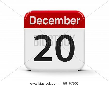 Calendar web button - The Twentieth of December - International Solidarity Day three-dimensional rendering 3D illustration