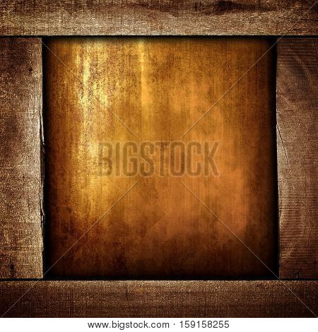 grunge metal with wood frame
