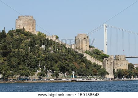 Rumelian Castle in Bosphorus Strait Coast of Istanbul City Turkey