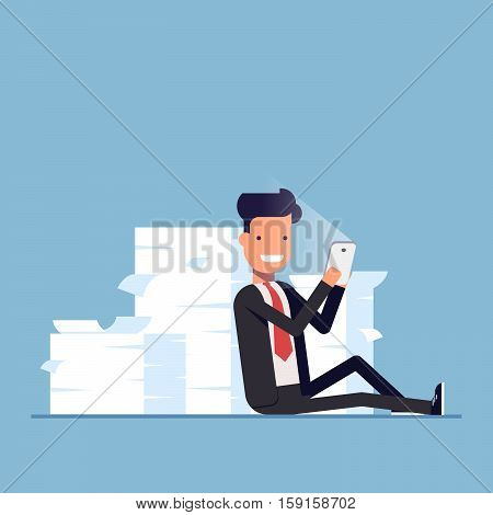 Businessman or manager sits behind a pile of documents and holding mobile phone. Lazy people hid from work. Vector, illustration EPS10