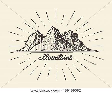 Vintage hand drawn Mountains. Sketch vector illustration. Banner