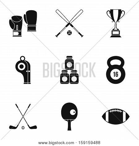 Sports stuff icons set. Simple illustration of 9 sports stuff vector icons for web